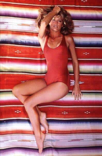 Norma Kamali,  Farah Fawcett's red one-piece, shot by Bruce McBoom, 1976
