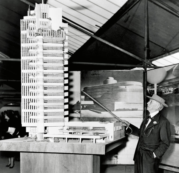 Frank Lloyd Wright , Maquette of the Price Tower in Oklahoma, 1953, based on skyscraper designed in 1929 for St. Mark's Church in-the-Bowery