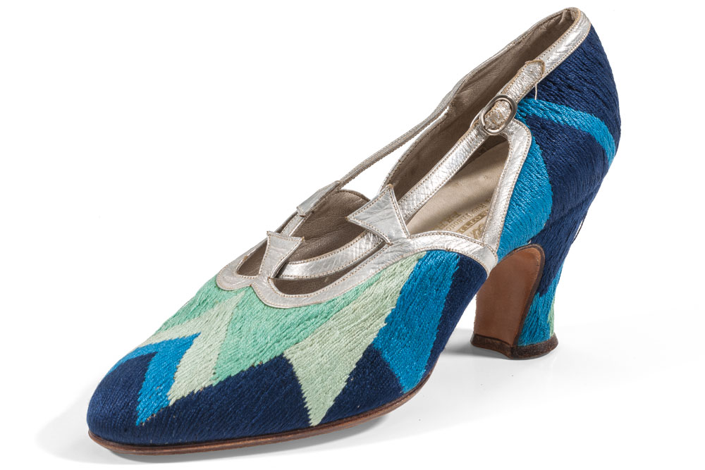 Sonia delaunay designed court shoe  1925  leather  silk and embroidery