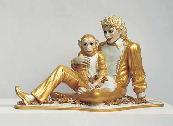 Hero jeff koons   michael jackson and bubbles  1988