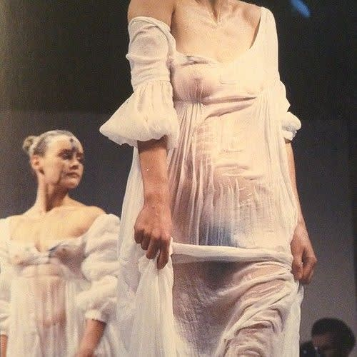 John Galliano , Models doused in water, Spring/Summer 1986