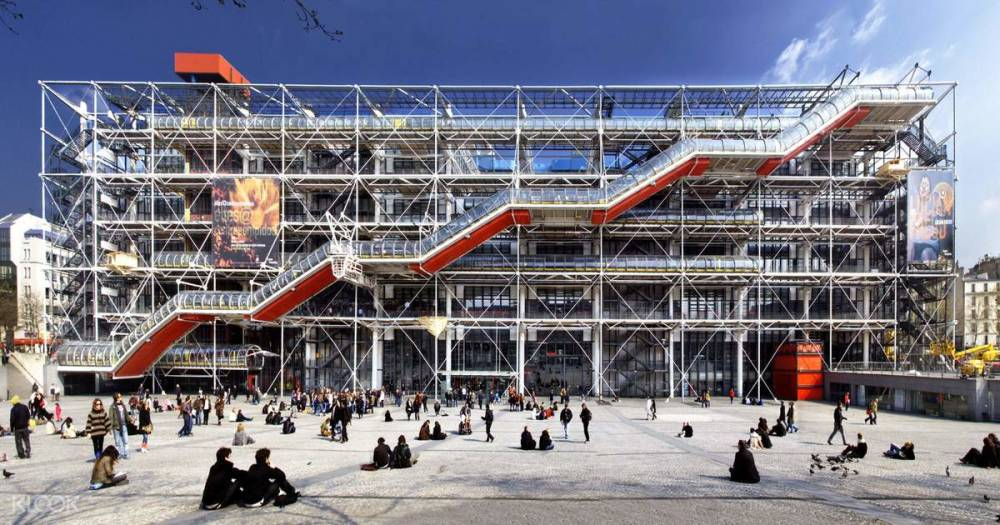 Richard Rogers, Renzo Piano and Gianfranco Franchini,  Centre Pompidou, Exterior View