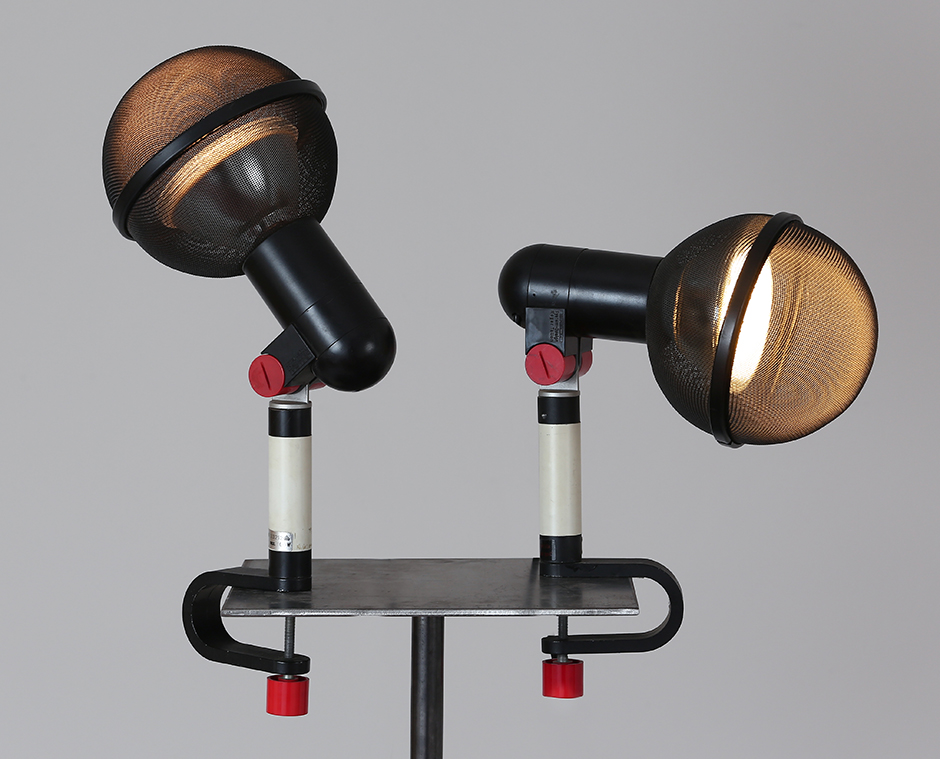 Roger tallon  pair of bracket lamp model    micro    enameled metal and red abs manufactured by erco  1970s