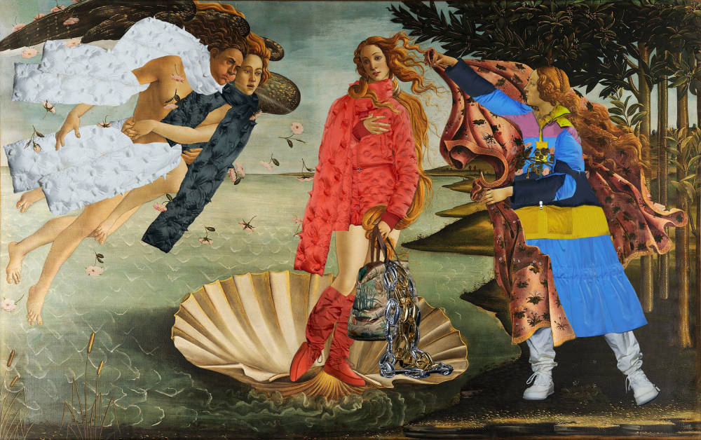 Sandro Botticelli , The Birth of Venus (in Moncler by JW Anderson), 1485