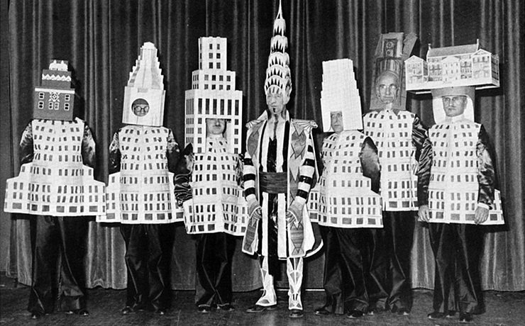 Architects dressed as their most famous buildings   ely jacques kahn  squibb building   william van alen  chrysler building