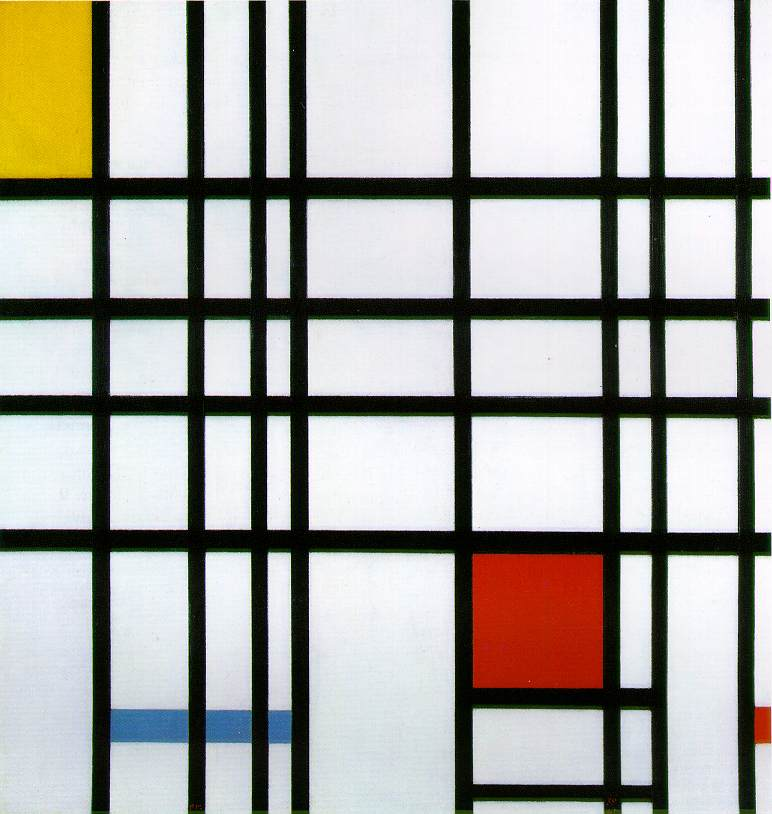Piet mondrian  composition with yellow  blue and red  1942