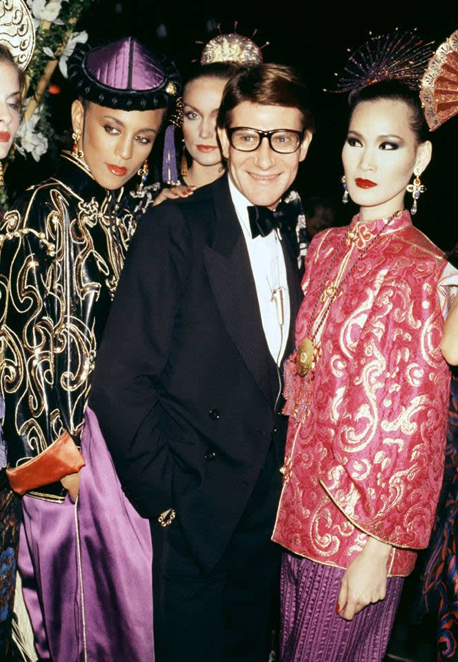 Yves saint laurent at the 1977  opium  perfume launch party
