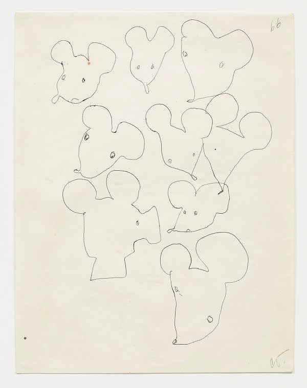 Claes Oldenburg, Mouse Head Variations, Notebook Page, 1966