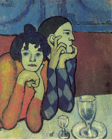 Pablo picasso harlequin and his girlfriend  wandering gymnasts   1901