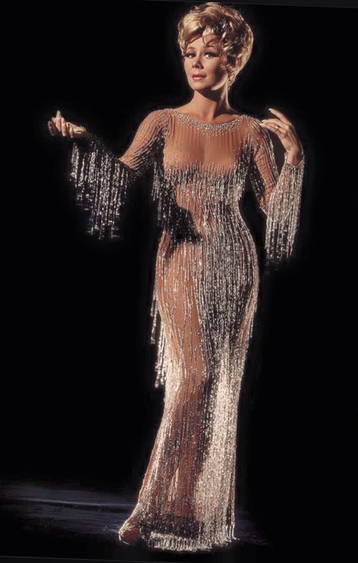 Mitzi gaynor in bob mackie s first  nude  dress  1968