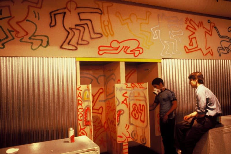 Keith Haring , Fiorucci Store Painting in Progress, Milan, 1983