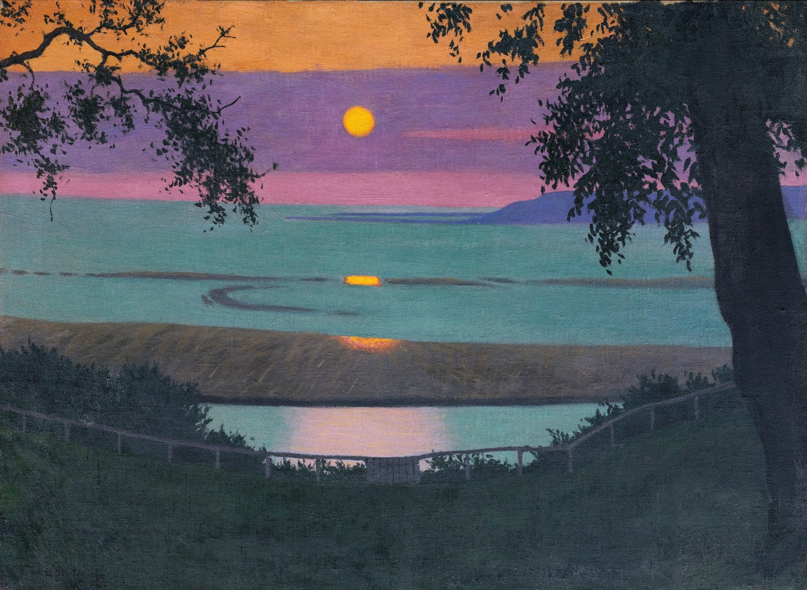 Felix vallotton  sunset at grace  orange and violet sky  1918