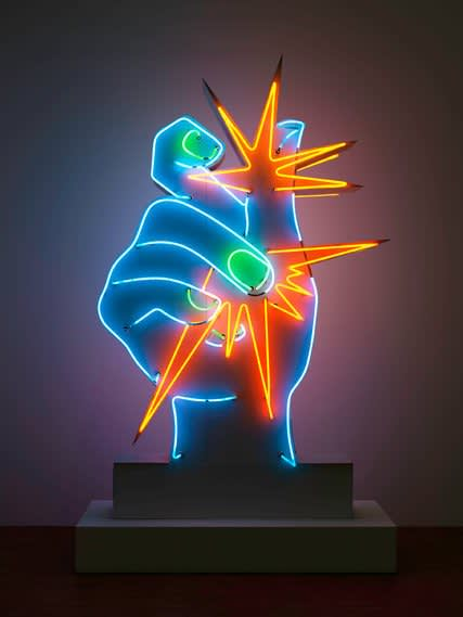 america  america     1964  in neon and metal paint  by martial raysse