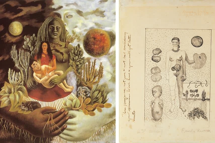 Frida Kahlo, Left The Love Embrace of the Universe, 1949 - Right The Abortion, 1932