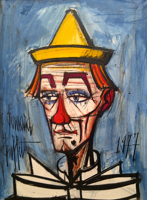 Bernard buffet  clown sur fond bleu  1977