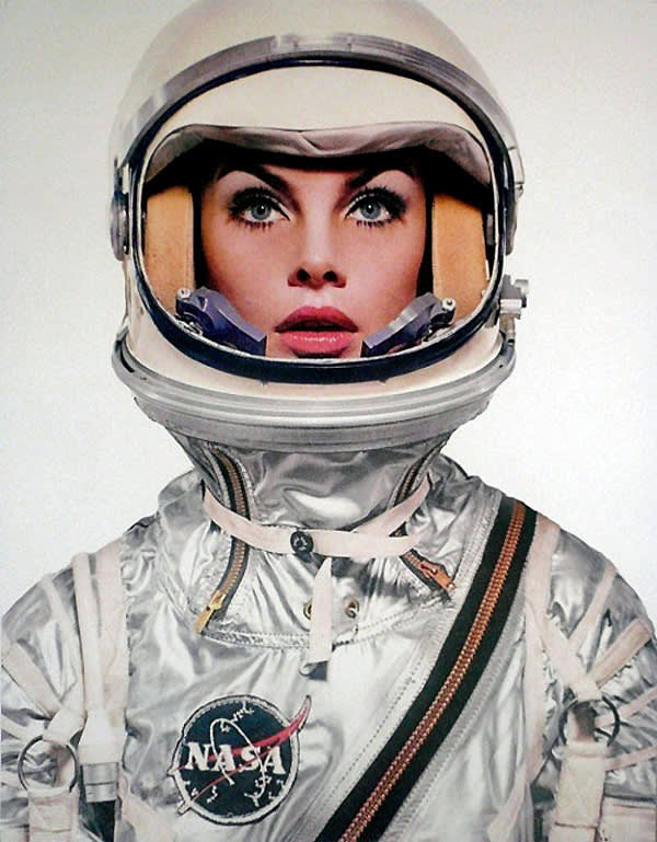 Richard avedon  jean shrimpton in a nasa spacesuit  harper s bazaar  april 1965