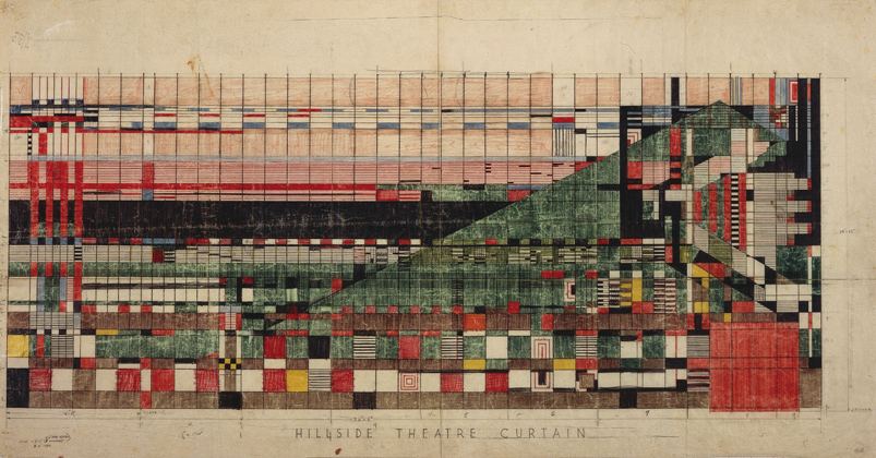 Frank lloyd wright design for theatre curtain hillside theatre taliesin spring green wisconsin 1952