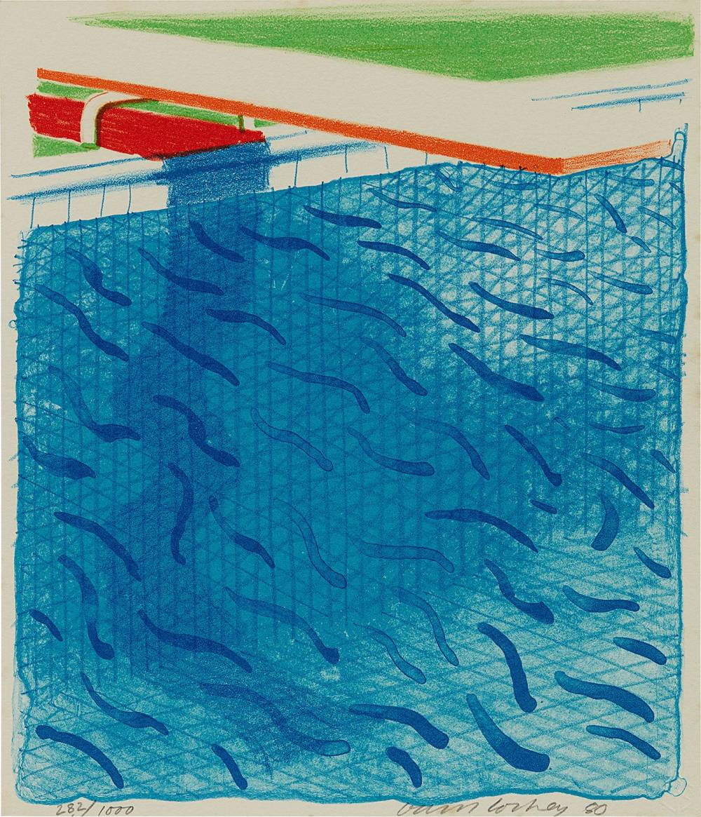 David Hockney , Pool Made with Paper and Blue Ink for Book, from Paper Pools, 1980