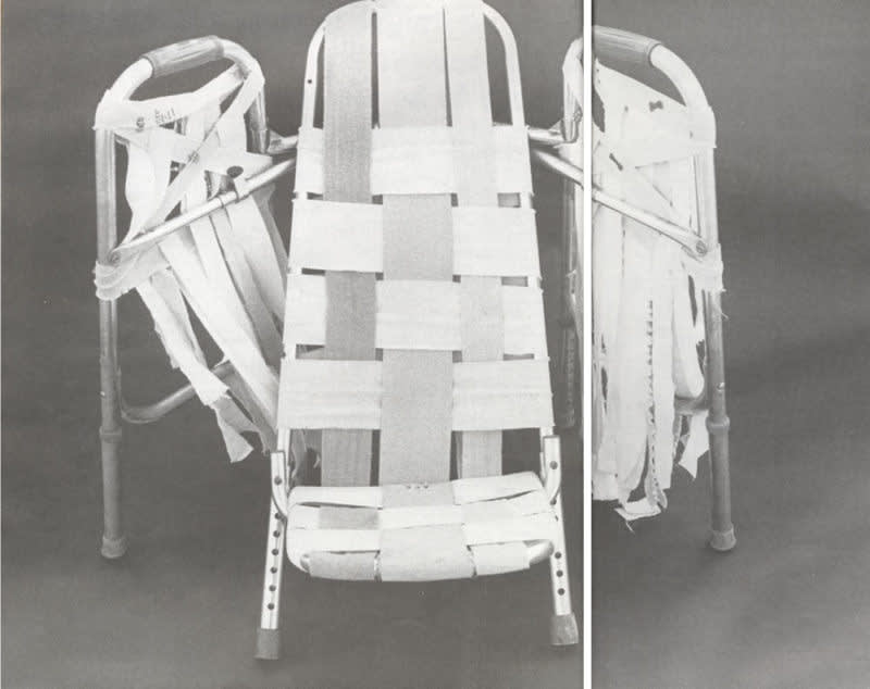 Carol jacque  beach chair with wings  1992  walkers  ace bandages