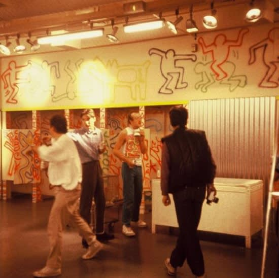 Keith Haring, Fiorucci Store Painting in Progress, Milan, 1983
