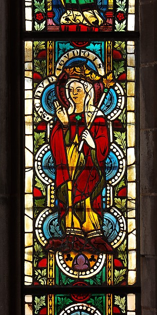 Stained glass panel with queen kunigunde  austrian  1340 50