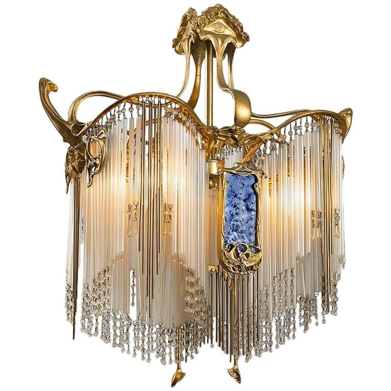 French art nouveau boudoir chandelier by hector guimard  1913