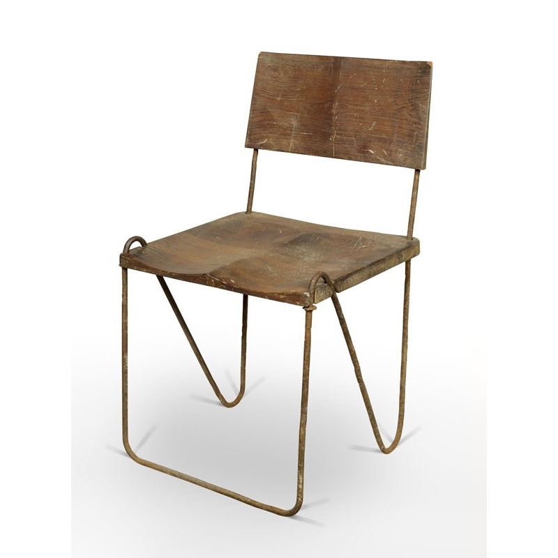 Pierre jeanneret  teak and iron chair  1953 54