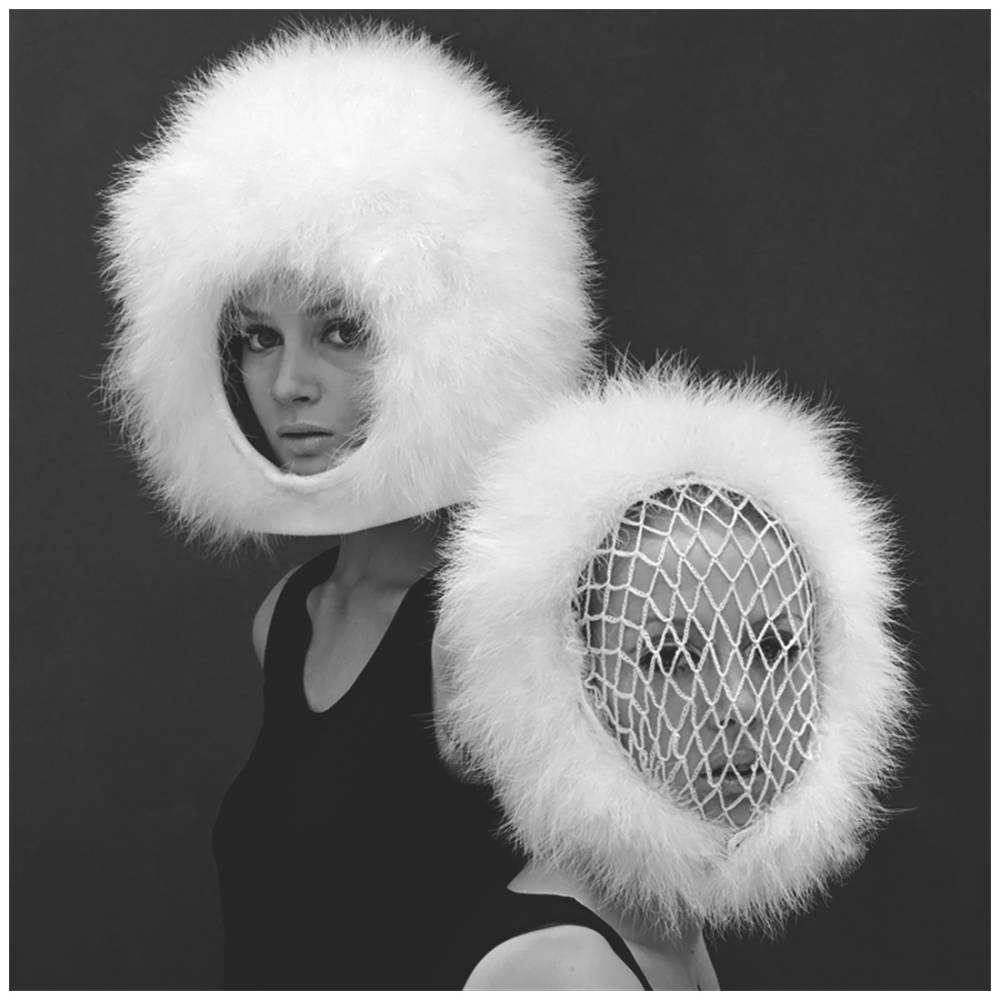 John french  celia hammond and patty boyd in two capsule line feathered helmets  1960s