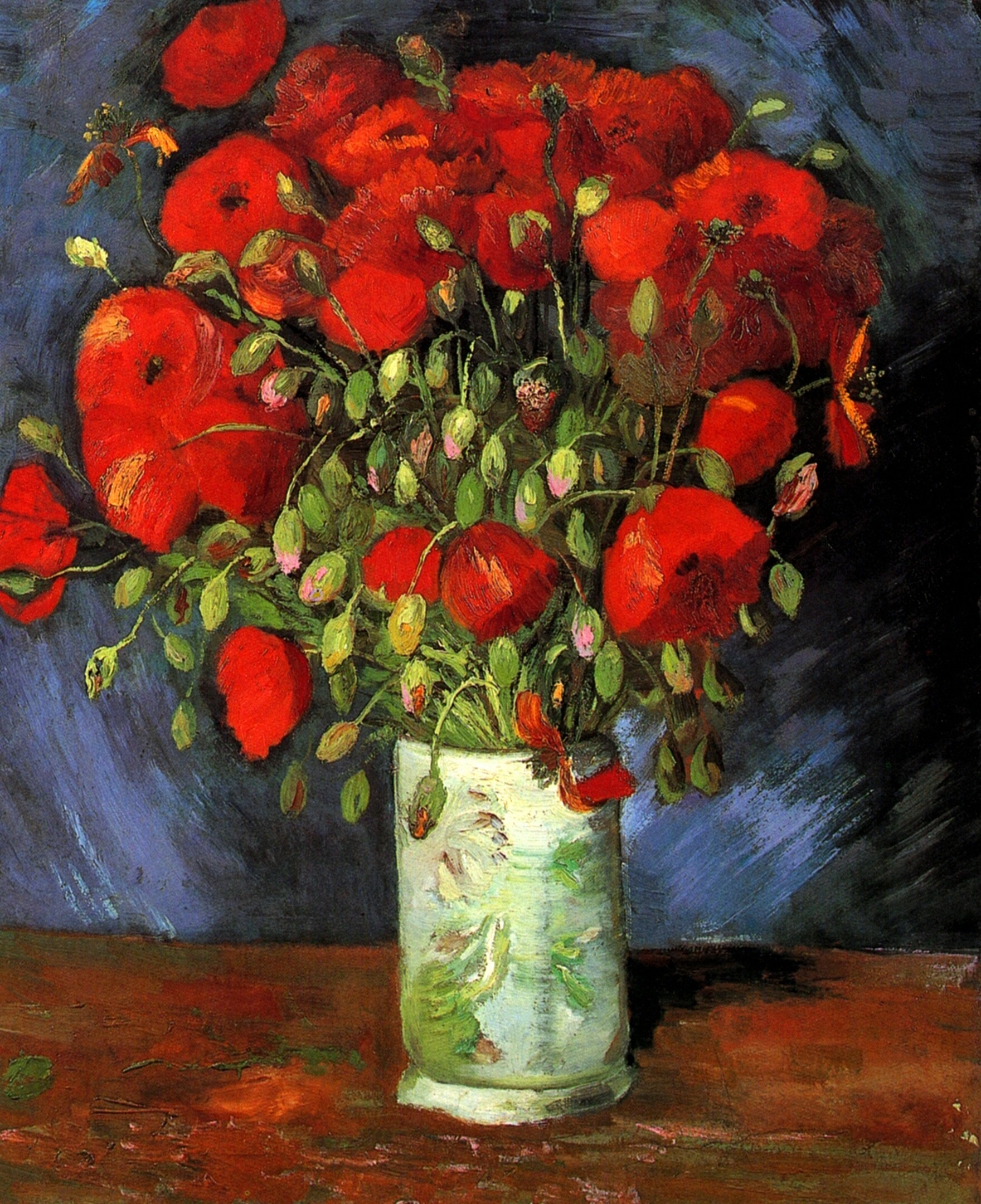 Vincent an gogh  vase with red poppies  1886