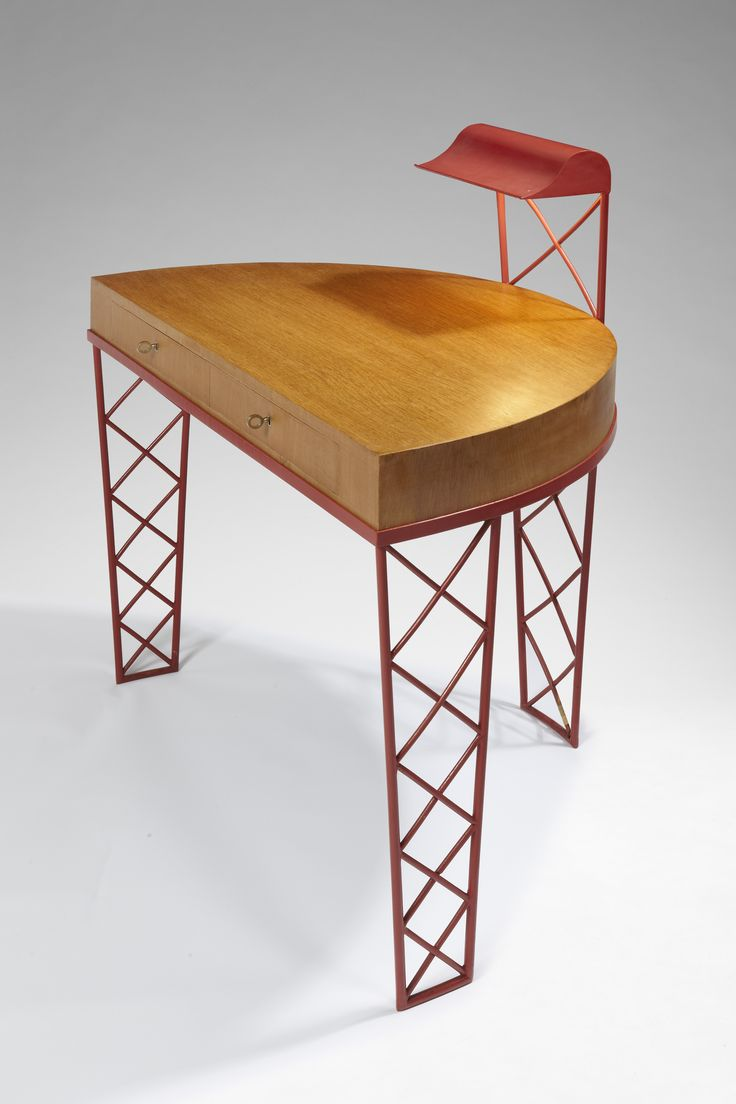 Jean roye  re  rare  croisillons  desk in red lacquered metal  1947.
