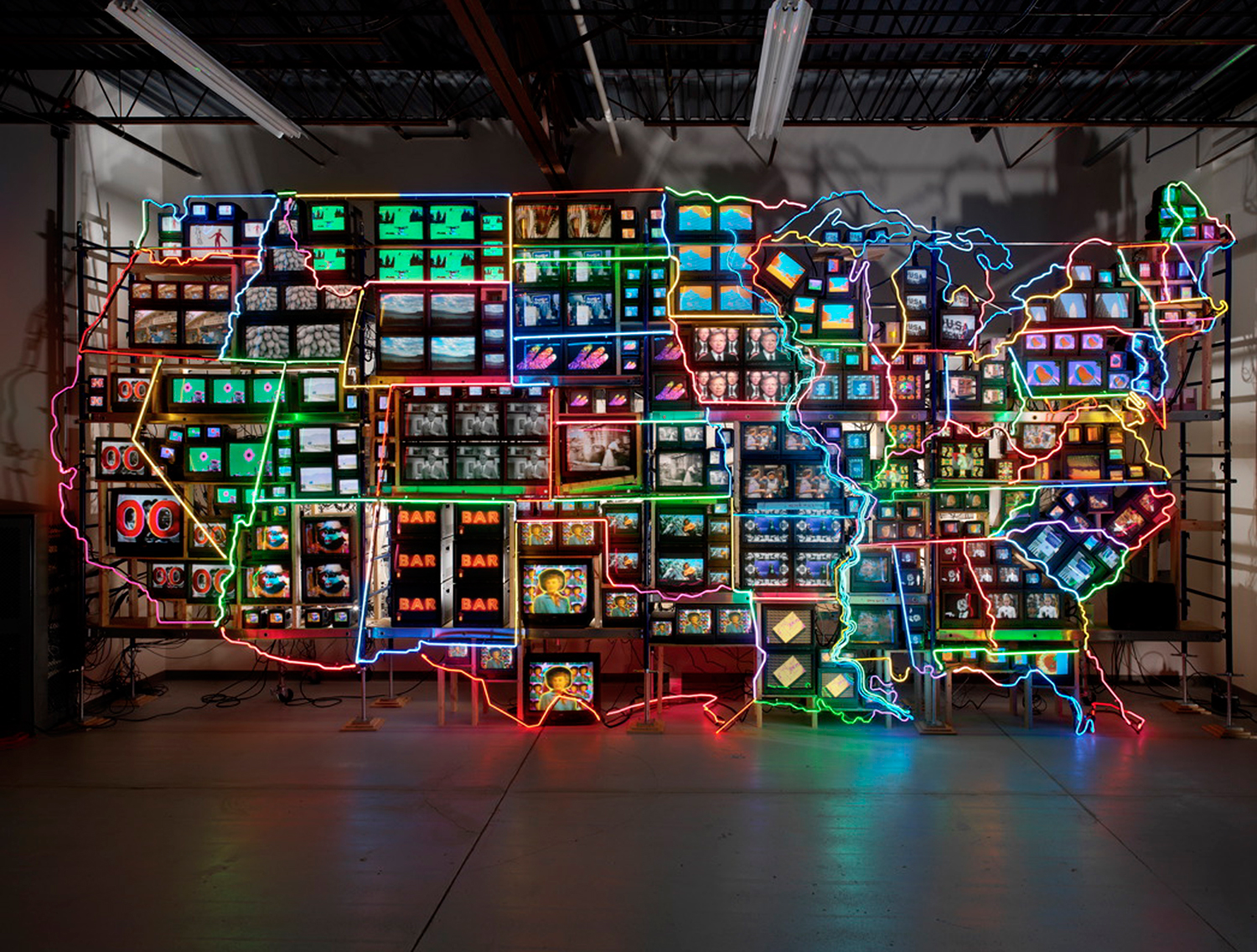 Nam june paik  electronic superhighway  continental u.s.  alaska  hawaii  1995