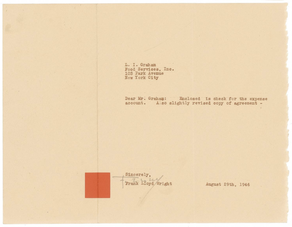 Frank Lloyd Wright, Custom Red Square Stationary, 1946