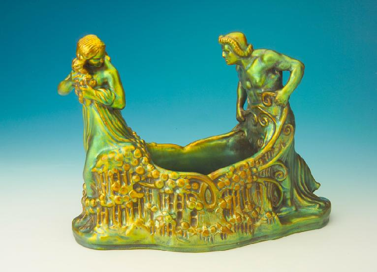 Zsolnay dish with man and woman figure  1910