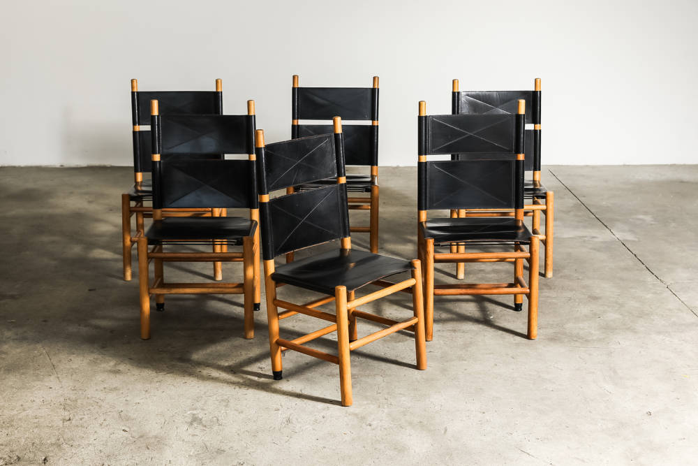 Six kentucky chairs  carlo scarpa  bernini  1977