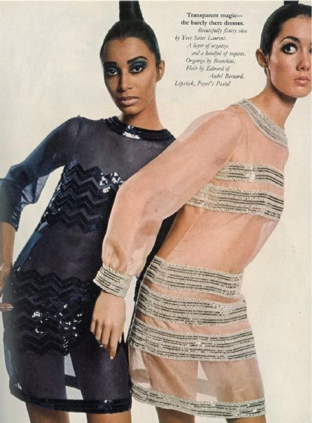 Yves saint laurent  photgrpahy by david bailey  transparent nude look  1966