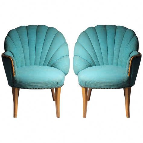 Shell Back Arm Chairs, Art Deco, 1920s