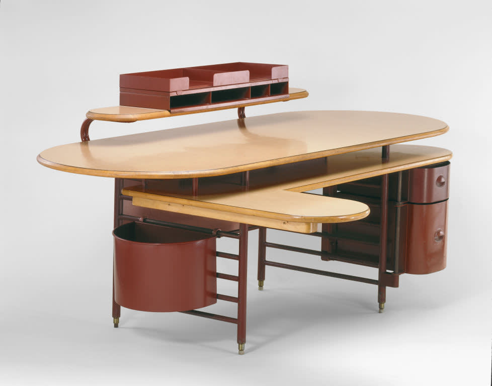 Rare desk  pictured  and chair from the s.c. johnson and son administration building  1938