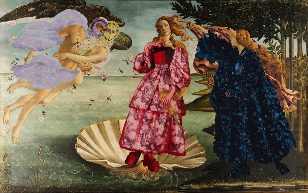 Sandro Botticelli , The Birth of Venus (in Moncler by Simone Rocha), 1485