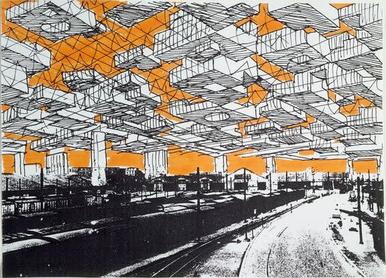 Yona friedman  spatial city  project  perspective  1958  1959  moma