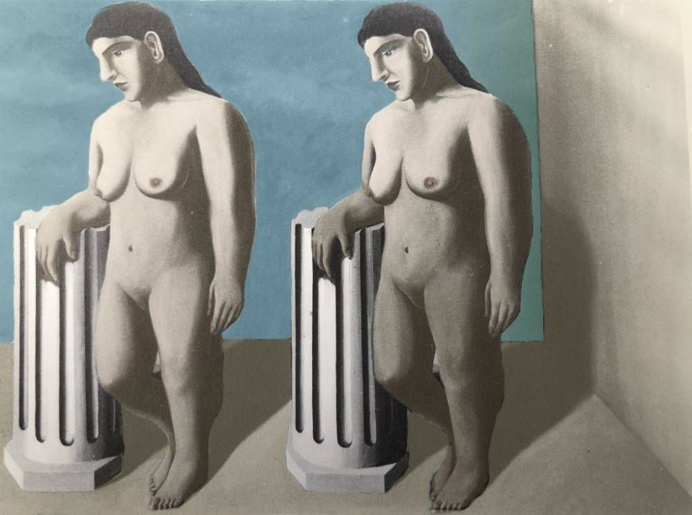 Rene   magritte  the enchanted pose with restored colors