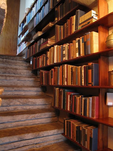 Frank Lloyd Wright , Bookcase and Stone Stairway