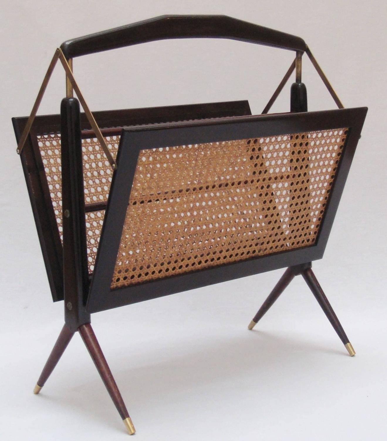 Ico parisi wooden and rattan magazine rack  1950