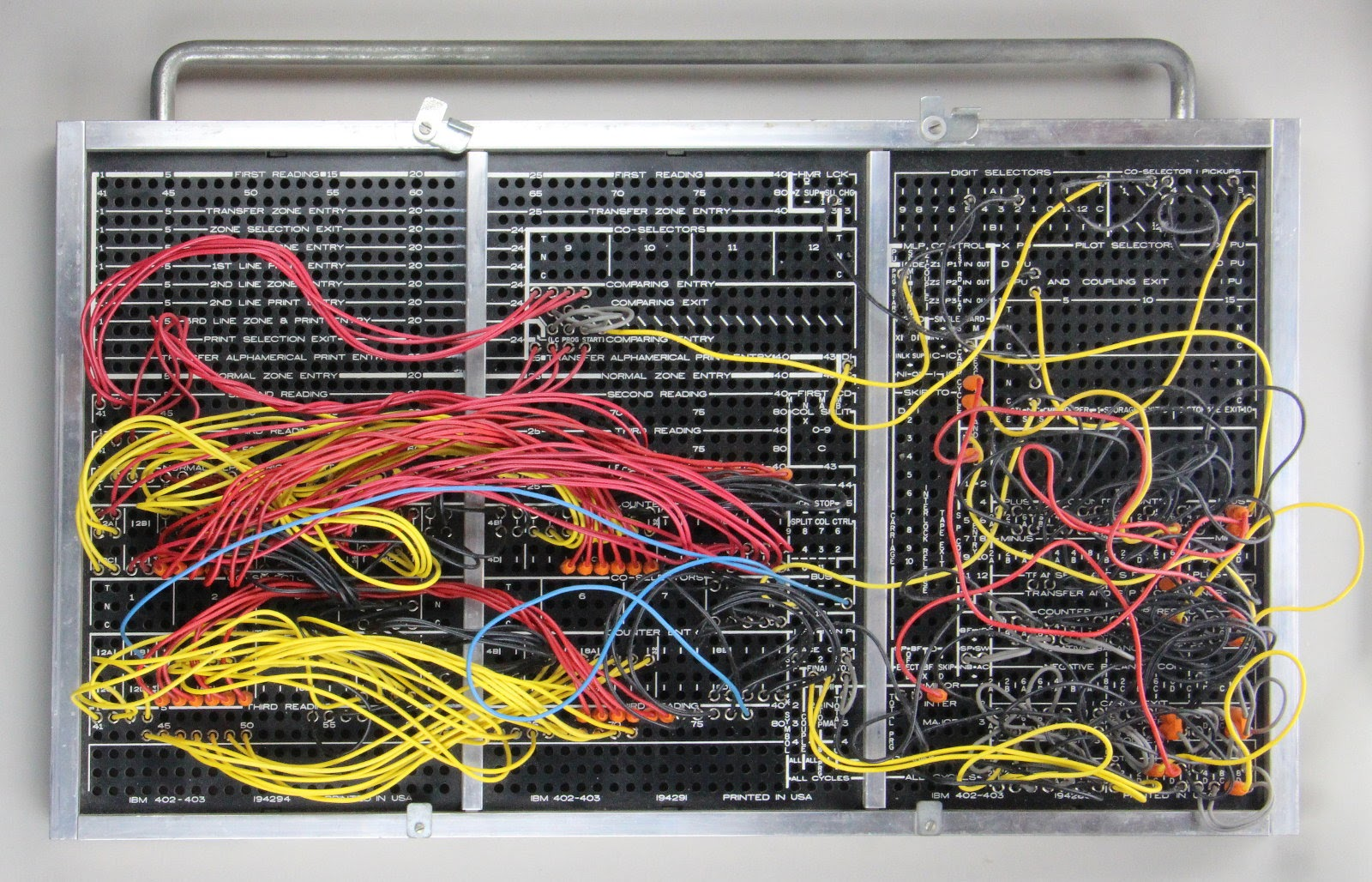 1950s plugboard for an ibm 403 implements tax deduction computation. board courtesy of carl claunch