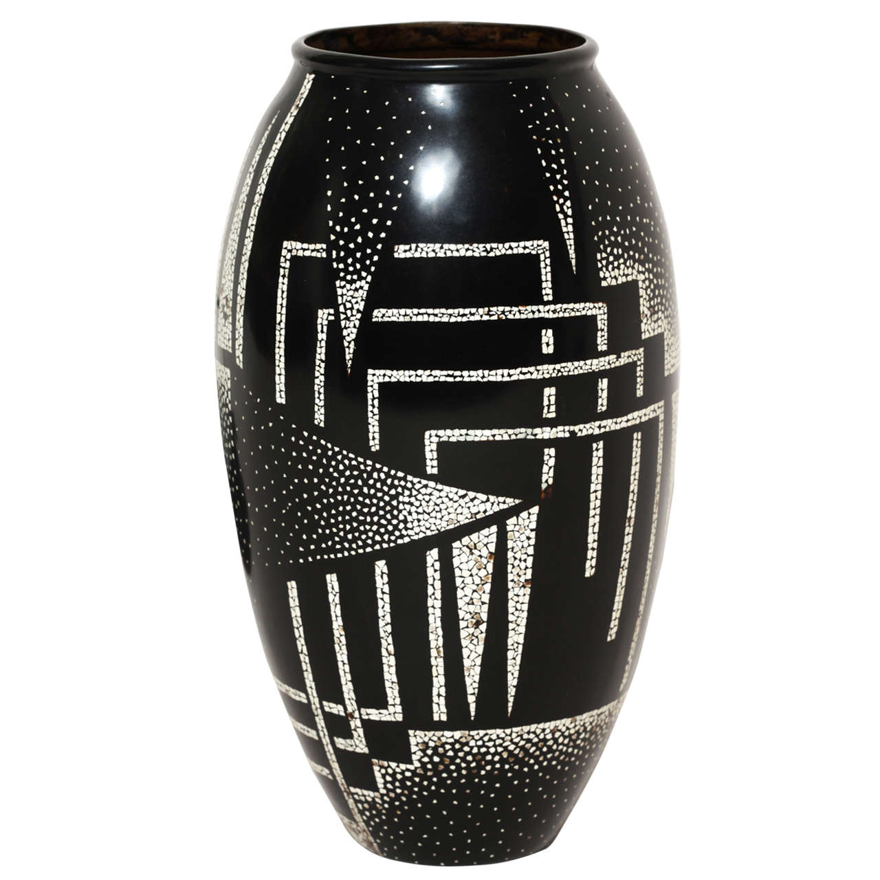 Jean dunand  art deco coquille d oeuf and black lacquered vase  1925