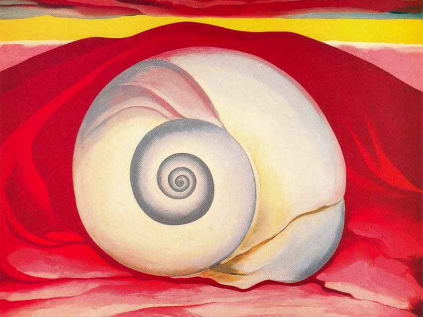 Georgia o keeffe red hill and white shell  1938