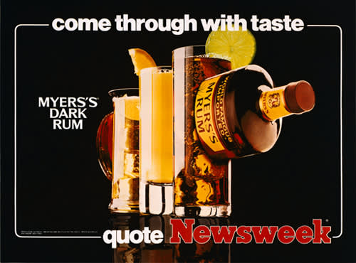Jeff Koons, Come Through with Taste - Myers's Dark Rum - Quote Newsweek, 1986