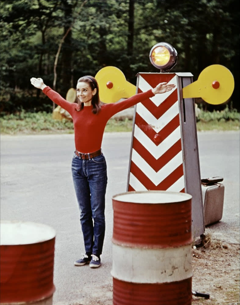 Two for the Road , Audrey Hepburn as Joanna, Wearing Timwear sweater, Levi's, Gucci belt, League for Montgomery Ward tennis shoes