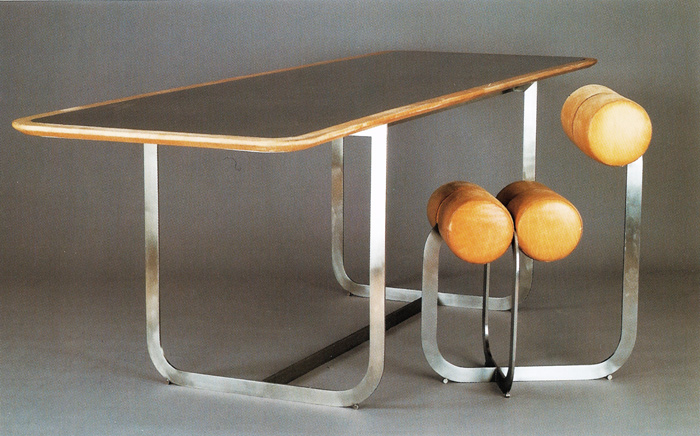 Henri gaudin  leather and metal chair and table  1970