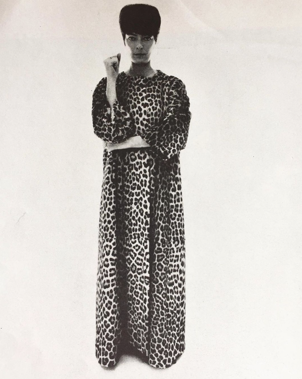 Annabel buffet in balenciaga s long panther hostess dress photographed by william klein