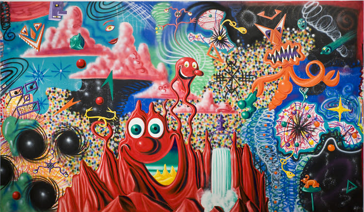 Kenny scharf  b. 1958 . when the worlds collide  1984